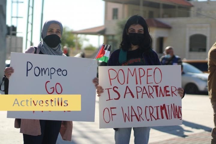 Protest against US Secretary of State Pompeo's visit to Psagot, Al Bireh, West Bank, 18.11.2020 Photographer: Heather Sharona Weiss activestills.org